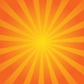 オレンジ色の夏の抽象的なコミック漫画日光の背景。