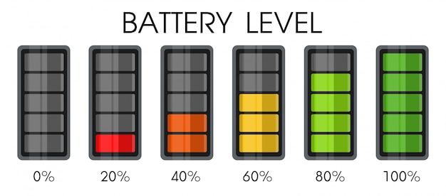 スマートフォンのバッテリーの電源レベルアイコン。