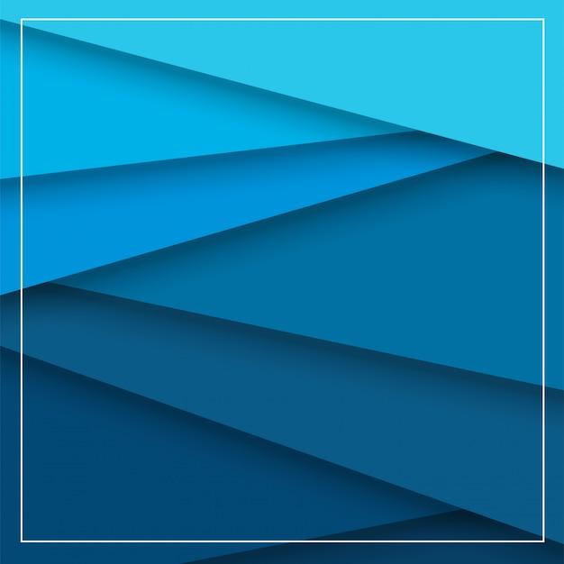 青い紙が重なって美しい影の外観である抽象的な背景。