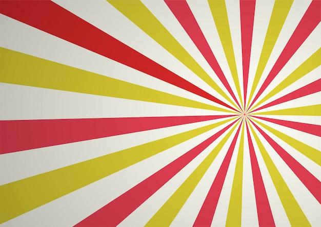 赤と黄色の抽象的なコミック漫画レイと日光の背景。