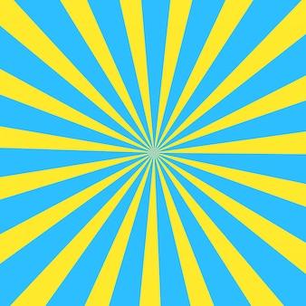 黄色と青の夏漫画日光の背景。