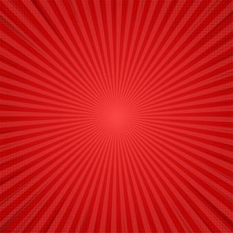 赤の抽象的なコミック漫画日光の背景。