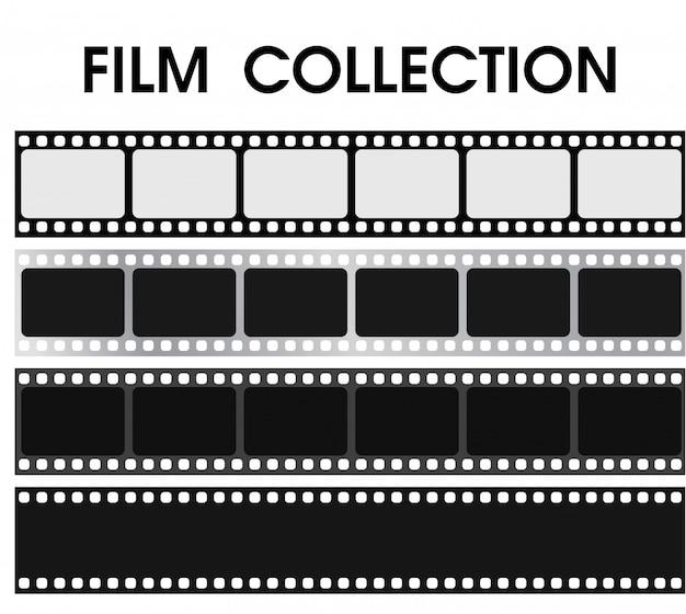 黒と白のレトロなフィルムコレクションをベクトルします。