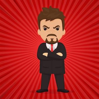 怒りを見せているビジネスマンや上司。赤いコミック漫画スタイル。