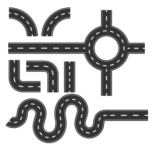 道路パターンセット、マッピング用カーブ旅行インフォグラフィックのコンセプトです。