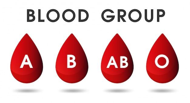 赤い血の滴と血による献血。
