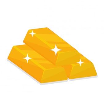 Золотые слитки, которые создают искрящийся свет, изолируют на белом