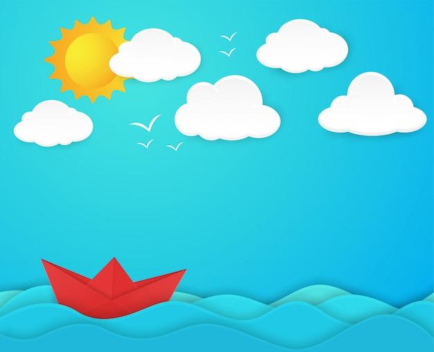 広大な海に溝を描くペーパーボートのコンセプトペーパーアートスタイル
