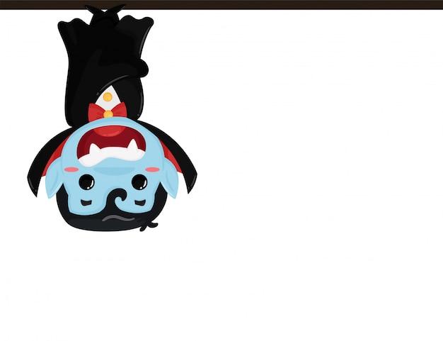 ドラキュラの衣装を着てかわいい漫画少年ハロウィーンのパーティーを楽しんでいます。