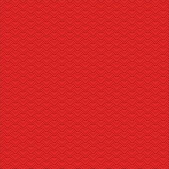 赤の中国の波のテーマのシームレスパターン