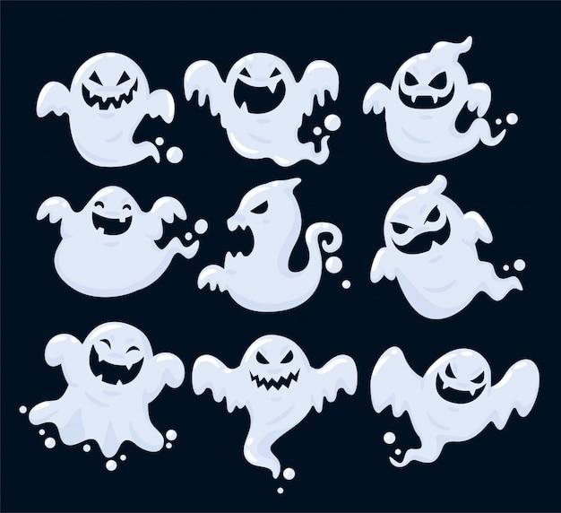 ハロウィーンに浮かぶ多くの幽霊の影のセット。
