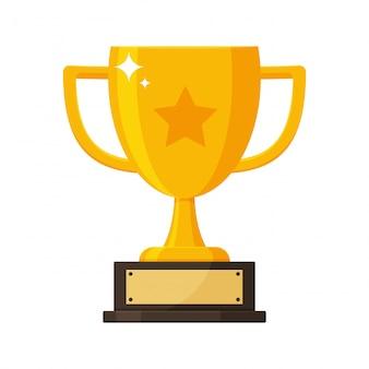 競争の勝者のネームプレートと金のトロフィー。