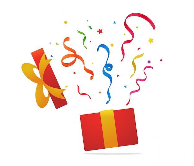 Подарочная коробка от сюрприза открылась подарочная коробка, и конфетти полетело в небо.