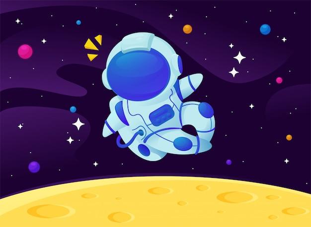 輝く星と銀河に浮かぶ漫画宇宙飛行士