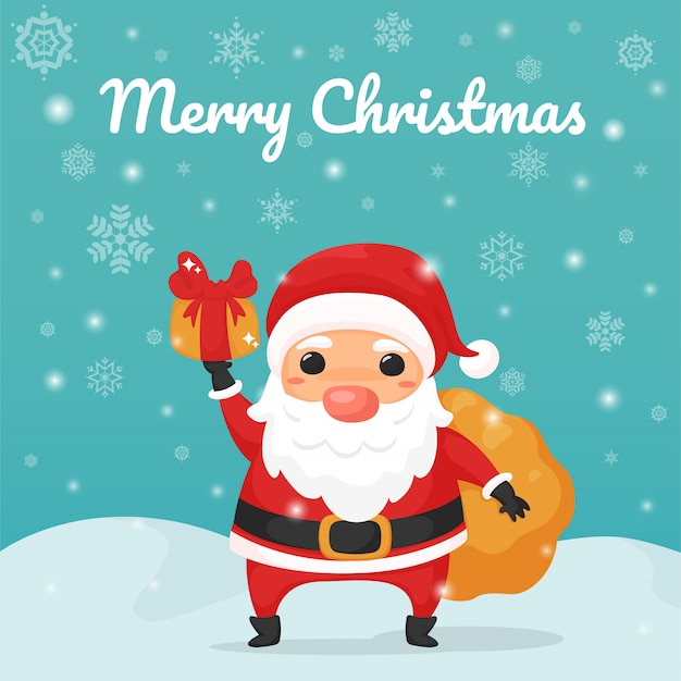 Счастливого рождества. мультфильм санта-клаус, держа подарочной коробке.