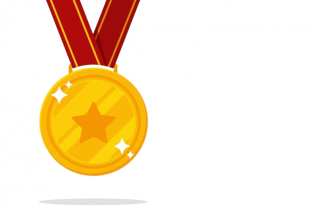 勝者のメダル。スポーツイベントで金メダルを獲得。