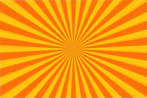 オレンジ色の夏抽象的なコミック漫画日光背景。ベクトルイラスト。
