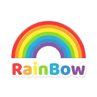 虹のアイコン。カラフルな虹