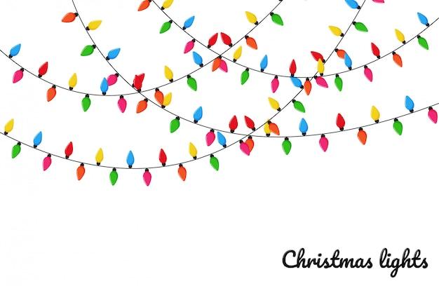 クリスマスのあかり。クリスマスパーティーでの装飾のためのカラフルな装飾的な電球。