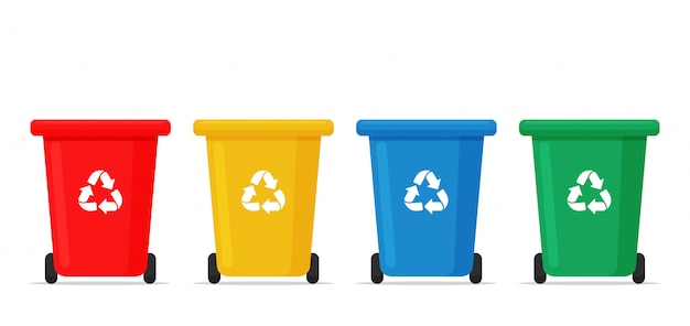 ごみ箱。廃棄物を分別するための赤、黄、青、緑のごみ箱。