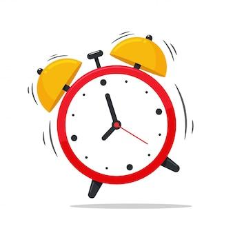 目覚まし時計のアイコン。朝起きてベッドから目覚める、目覚まし時計。