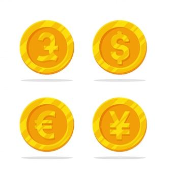 Иконка монета деньги. вектор плоской золотой монеты с символом валюты.