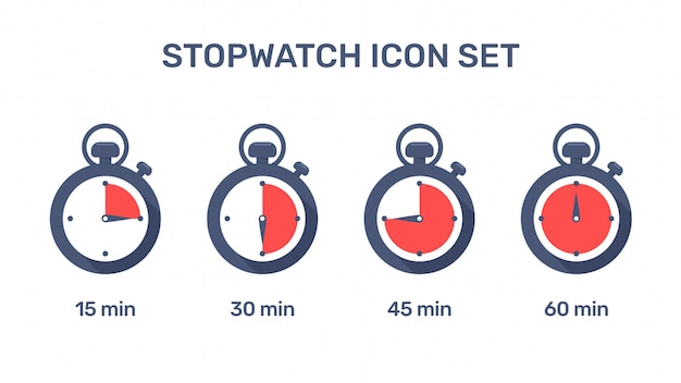 ストップウォッチアイコン。さまざまな時間に労働時間を設定するストップウォッチ。