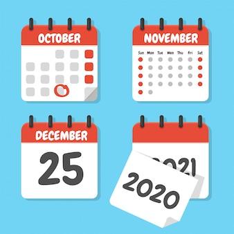 年末に予定をスケジュールするためのフラットなカレンダーセット。