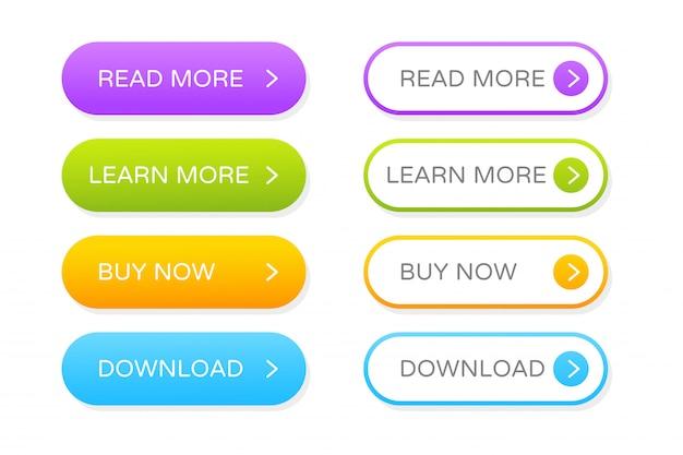 ウェブサイトのデザインのボタンセット。グラデーションボタンをクリックして、プログラムをモダンに装飾します。