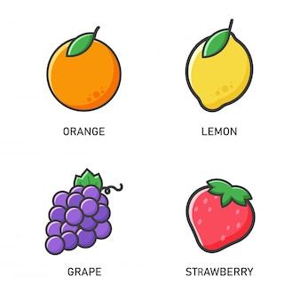フルーツのアイコン。ベクトルオレンジ、レモン、ブドウ、イチゴシンプルに見えるフラットスタイル。