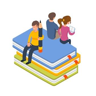 図書館の人々アイソメイラストベクトルイラスト