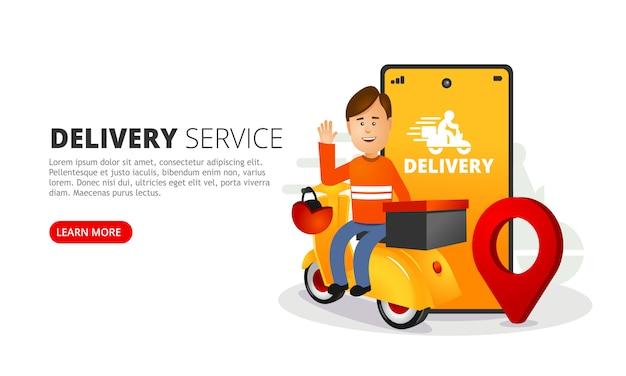配達人が箱を配達します。貨物を追跡するためのモバイルアプリを備えたスマートフォン。
