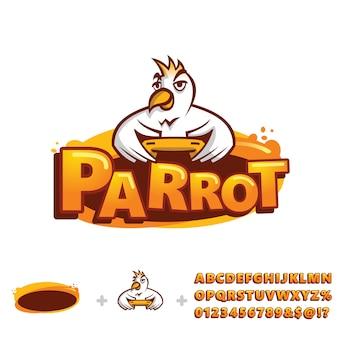 Шаблон логотипа попугай с алфавитом