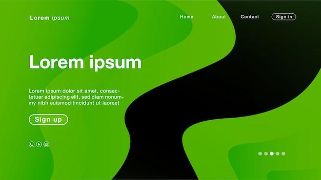 ホームページの背景の抽象的なグリーンラインカーブ