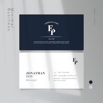 Классическая синяя минимальная винтажная визитная карточка