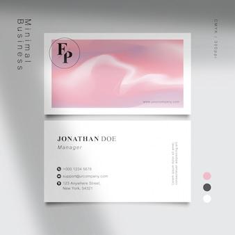 Минимальная белая сладкая розовая визитка