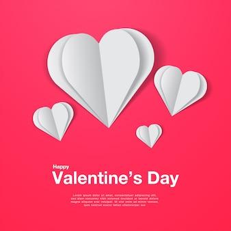 Белые бумажные сердечки на розовом
