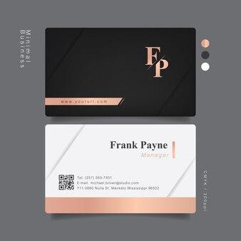 Элегантная розовая и золотая профессиональная визитная карточка