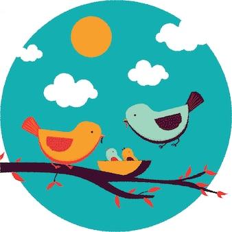 かわいい鳥の家族