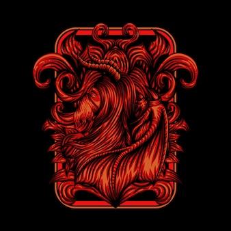 Демон девушка векторная иллюстрация