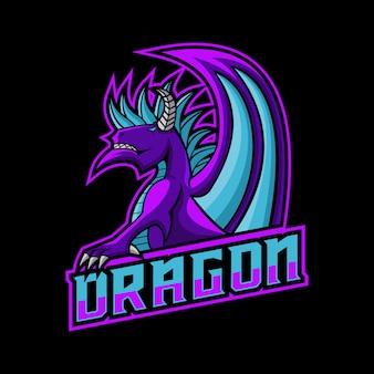 Дракон игровой логотип векторные иллюстрации