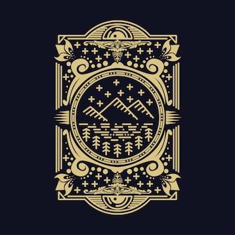 山行装飾ベクトル図