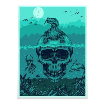 頭蓋骨コモドドラゴンポスター
