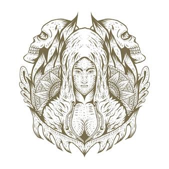 セクシーな女性の頭蓋骨の装飾手描き