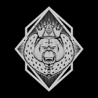 オランウータン王バッジベクトルイラスト