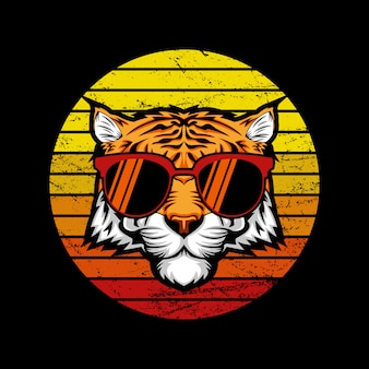 Иллюстрация тигр ретро закат