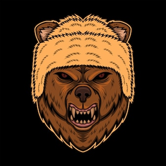 怒っている熊の頭帽子のベクトル図