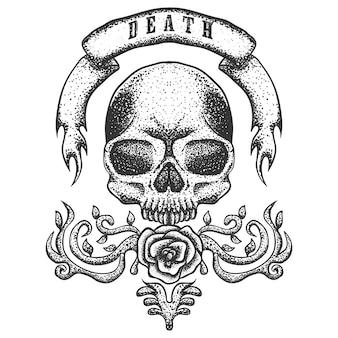 頭蓋骨ビンテージリボンベクトル図
