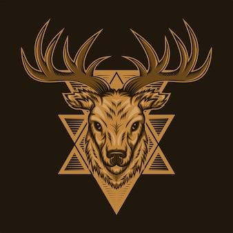 鹿頭バッジベクトル図