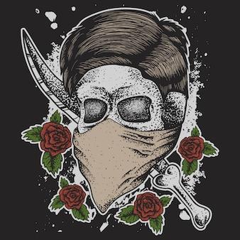 Череп человек голова кинжал роза